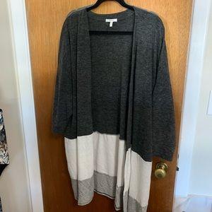 Long color blocked  cardigan